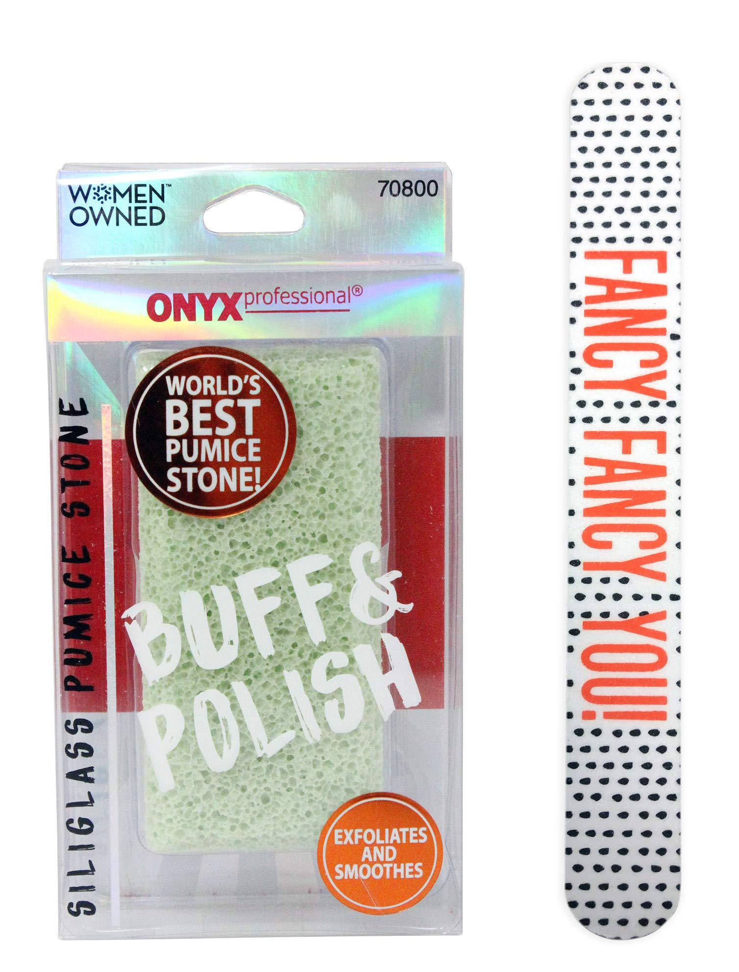Onyx Professional 100% Siliglass Double Sided Pumice Stone with 7 Inch Nail File