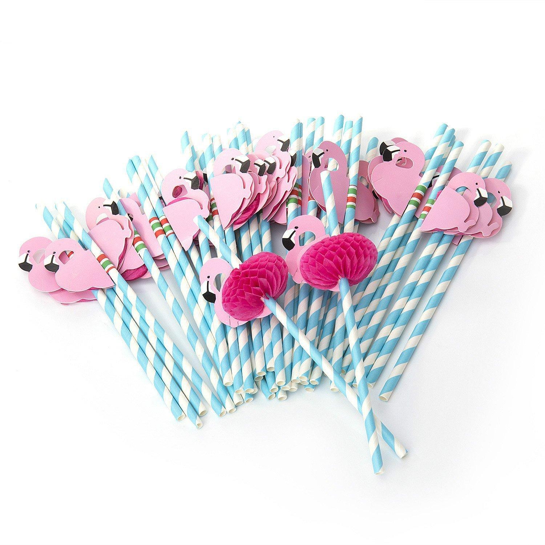 Qilene Dix pcs Flamingo pailles en papier pour anniversaire de mariage Célébration de fête (Bleu)