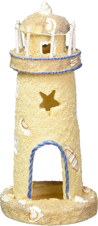 Penn-Plax Deco-Replicas Sand & Seashell Lighthouse Aquarium Ornament – 3 Safe for Freshwater and Saltwater Tanks