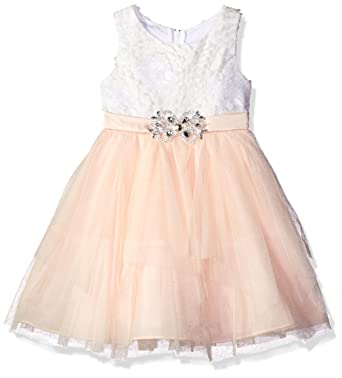 256b9ce27 Rare Editions Little Girls' Soutach Lace and Mesh Cascade Special Occasion  Dress, Ivory/