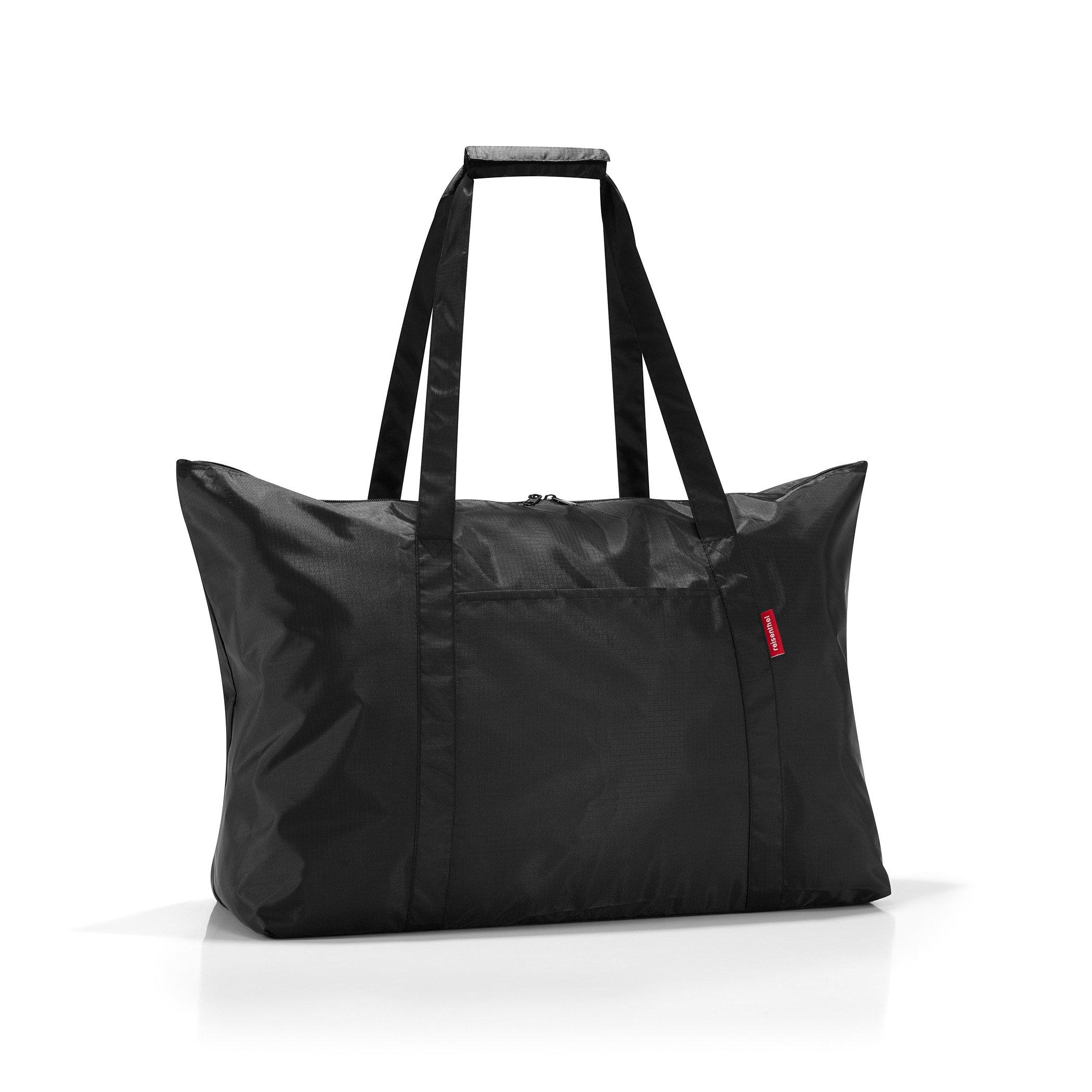 reisenthel Mini Maxi Travelbag, Foldable Tote with Compact Storage Bag, Black