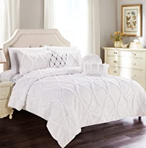 Elegant Comfort Luxury Best, Softest, Coziest 10-Piece Bed-in-a-Bag Infinity Design Comforter Set, Includes Bed Sheet Set with Double Sided Storage Pockets and Decorative Pillows, Full/Queen, White