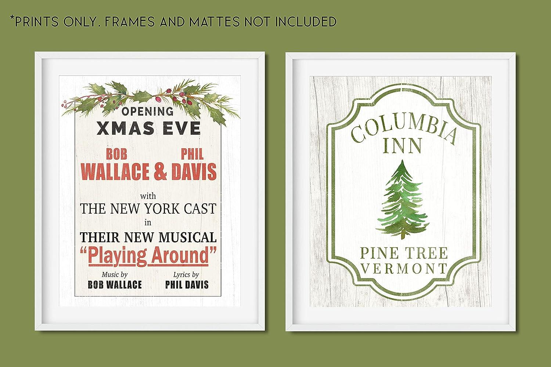 SET of 2 Unframed 11x14 Art Prints Holiday Decor White Christmas Movie Set