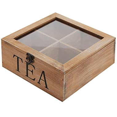 MyGift Rustic Wood Tea Bag Storage Chest, Multipurpose Organization Display Box with Clear Lid, Brown