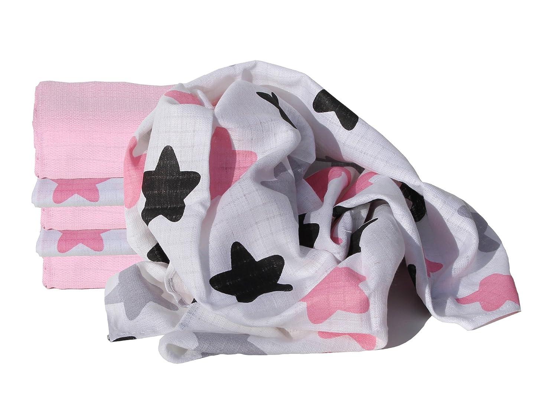 ClevereKids  Babytücher Flanell 80x80 weiß//bunt 5er-Pack kochfest Stoffwindeln