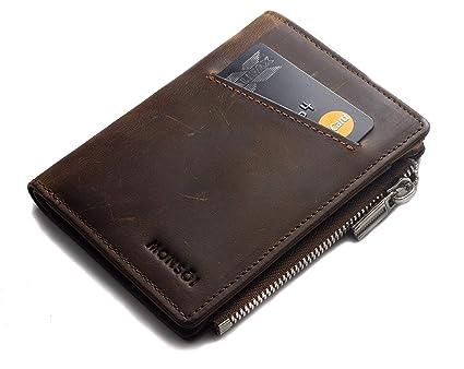 MONSOI® Cartera Hombre Pequeña RFID de Piel Auténtica - Minimalista con Llavero | Fina y Ligera, Espacio para hasta 10 Tarjetas, Efectivo y Monedas | ...