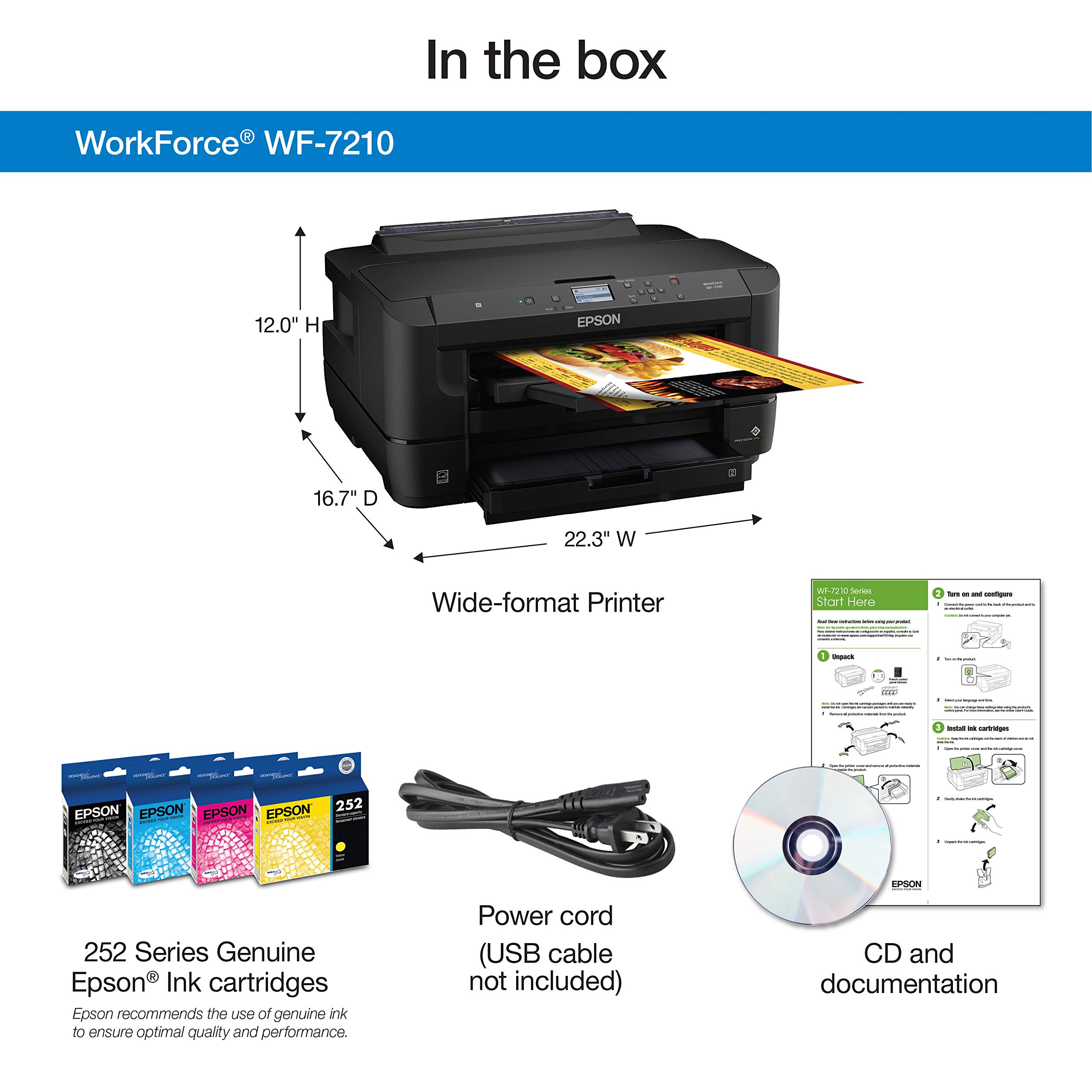 Workforce WF-7210 Wireless Wide-Format Color Inkjet Printer with Wi-Fi Direct and Ethernet, Amazon Dash Replenishment Enabled by Epson (Image #4)