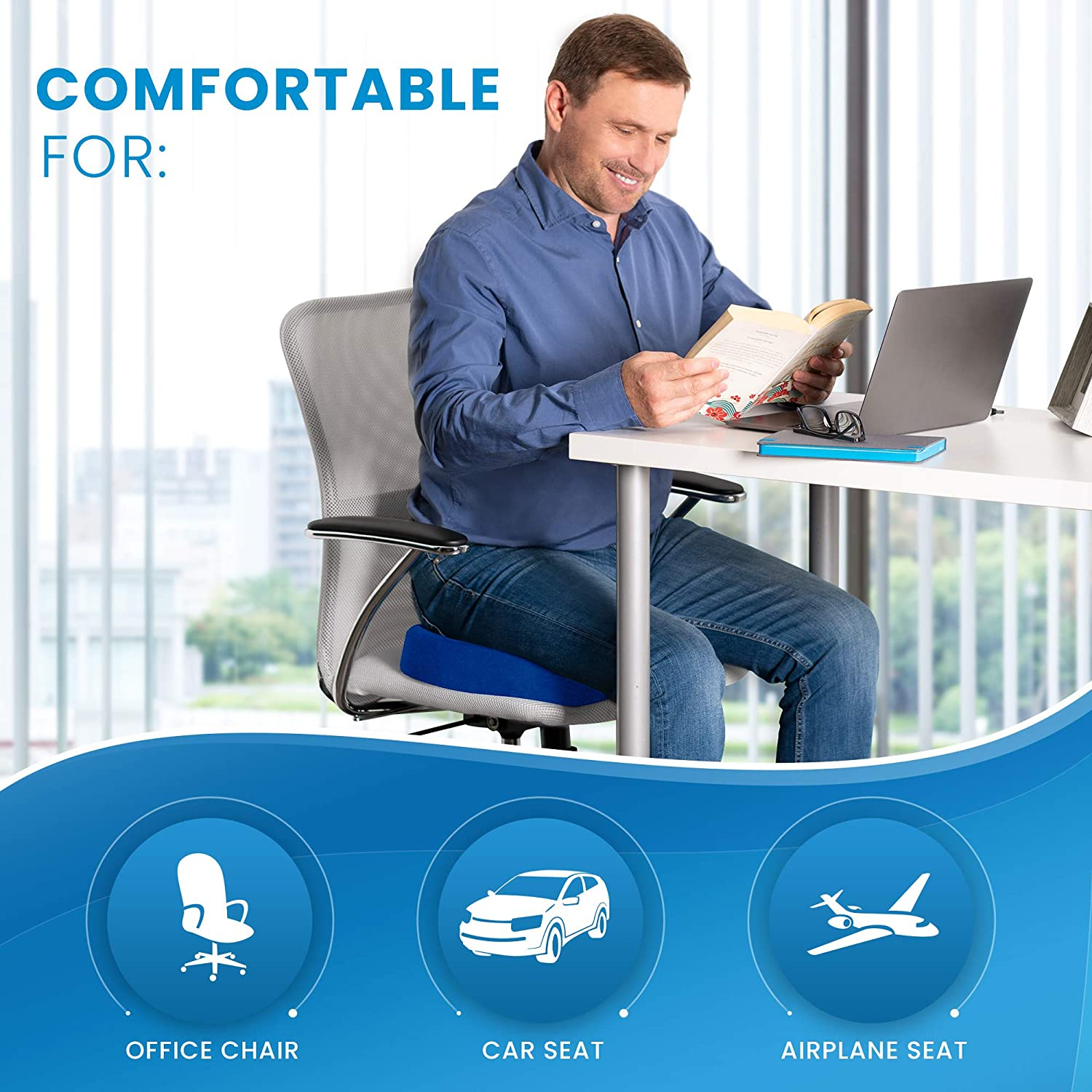 Blue Sciatica Pillow for Sitting Tailbone Pain Relief Cushion Everlasting Comfort Seat Cushion for Office Chair Coccyx Cushion
