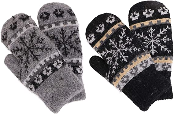 Womens Gray Chunky Knit Mittens With Sherpa Lining Grey
