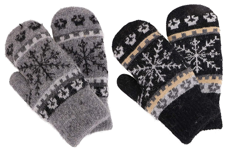 Black Dark Grey Mittens Women's Winter Fair Isle Knit Sherpa Lined Mittens  Set of 2 Pairs