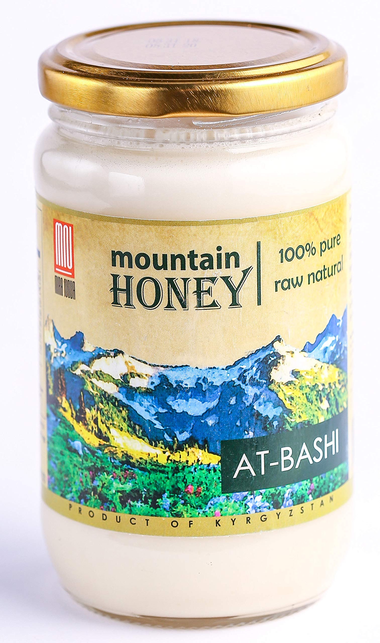 Kyrgyz White Honey; At-Bashi Raw Natural Wildflower Mountain Honey; 15.87 Ounce Glass Jar