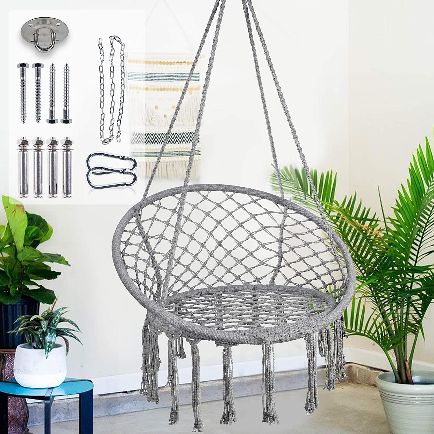 Blissun Hammock Chair Macrame Swing Chair, Hanging Cotton Rope Hammock Chair Swing for Bedrooms, Patio, Porch, Deck, Yard, Garden, Grey
