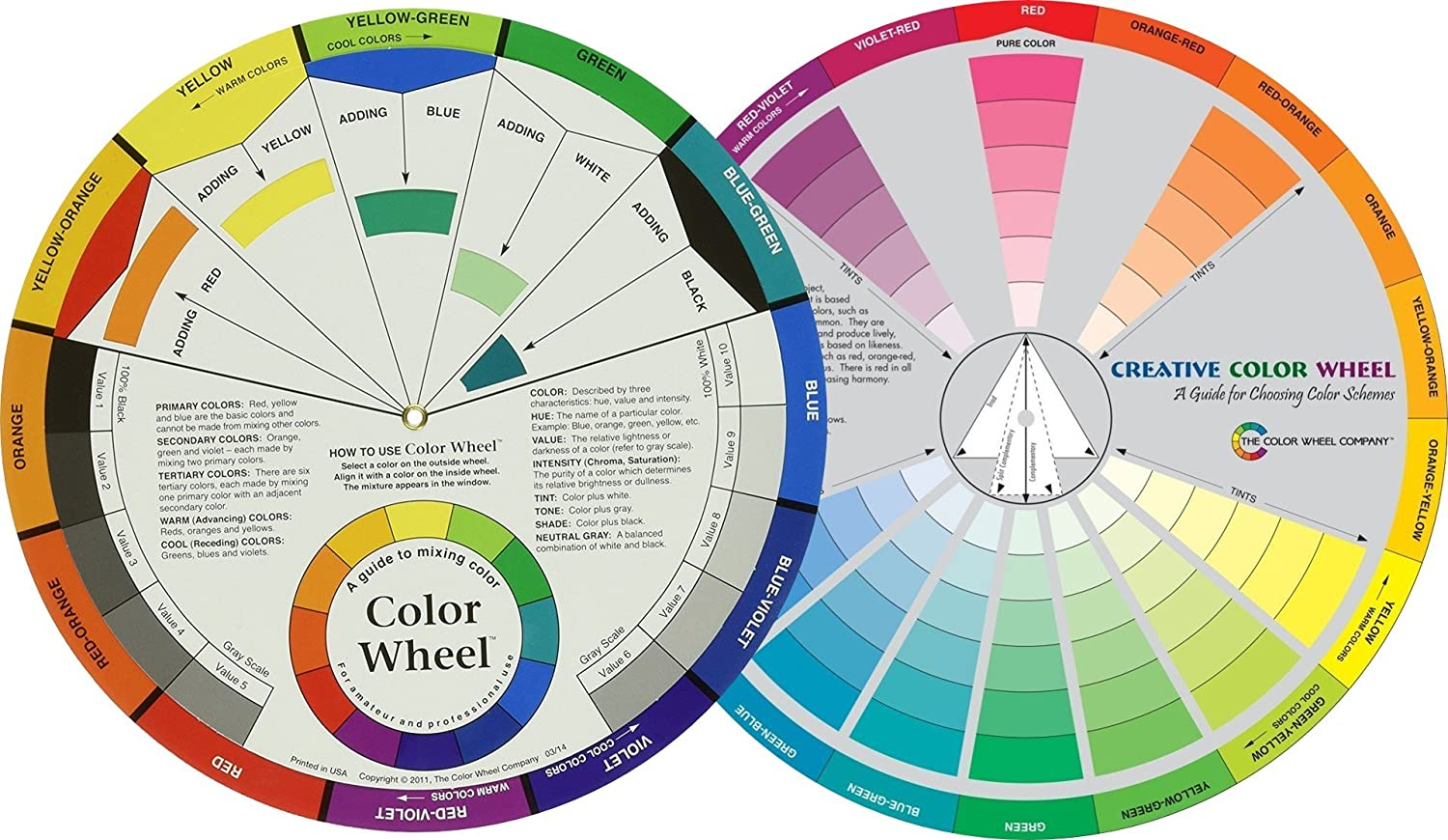 "Mixing Color Wheels for the Artist (9-1/4"") With a Creative Color Wheel (9.25 inch) circle with different colored sectors used to show the relationship between colors."