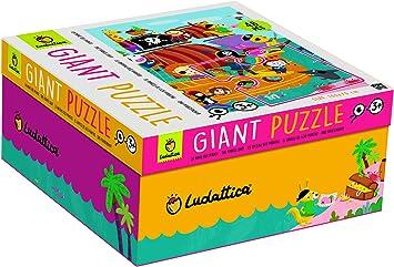 Ludattica Giant Puzzle La Nave de los Piratas 48 Piezas 100 x 70 cm The Pirate Ship Made in Italy