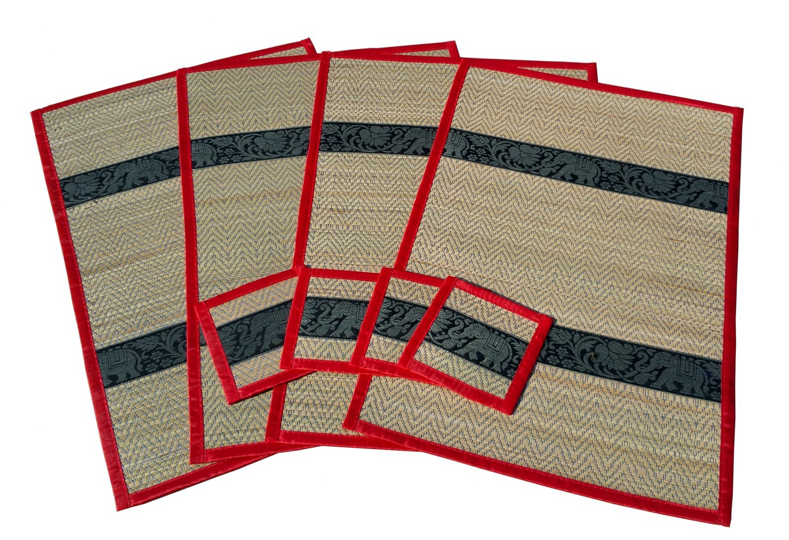 Reed and Silk Placemats And Coasters Handmade In Thailand (Set of 4) Large Size Elephant Motif (Red)