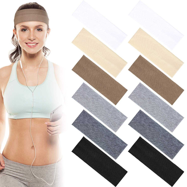 12*Cotton Headbands for Women Men Yoga Sport Stretch Hair Band Sweatband Head US