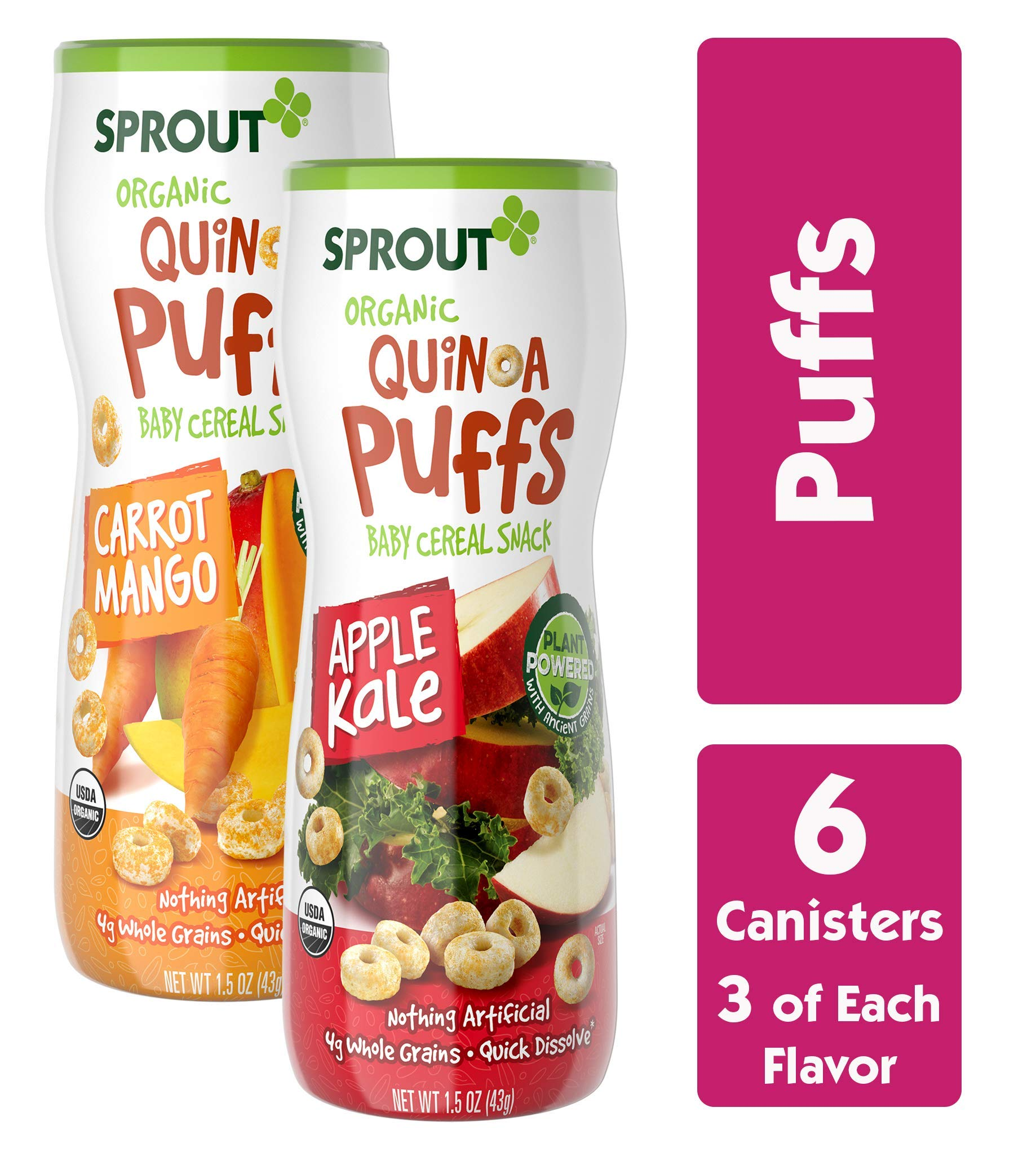 Sprout Organic Quinoa Puffs Baby Snacks, Variety Pack, 1.5 Ounce Canister (Pack of 6) 3 of Each: Carrot Mango & Apple Kale by Sprout