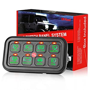 8 Gang Switch Panel, DJI 4X4 On-Off LED Car Switch Panel Circuit Control Relay System Box Universal Slim Touch Panel with Harness and Label Stickers for Truck Boat Jeep ATV UTV Caravan Marine