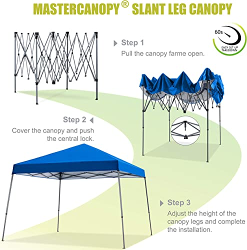 MASTERCANOPY Slant Leg Pop Canopy Tent 10×10 Instant Outdoor Canopy Easy Set up Folding Shelter Blue