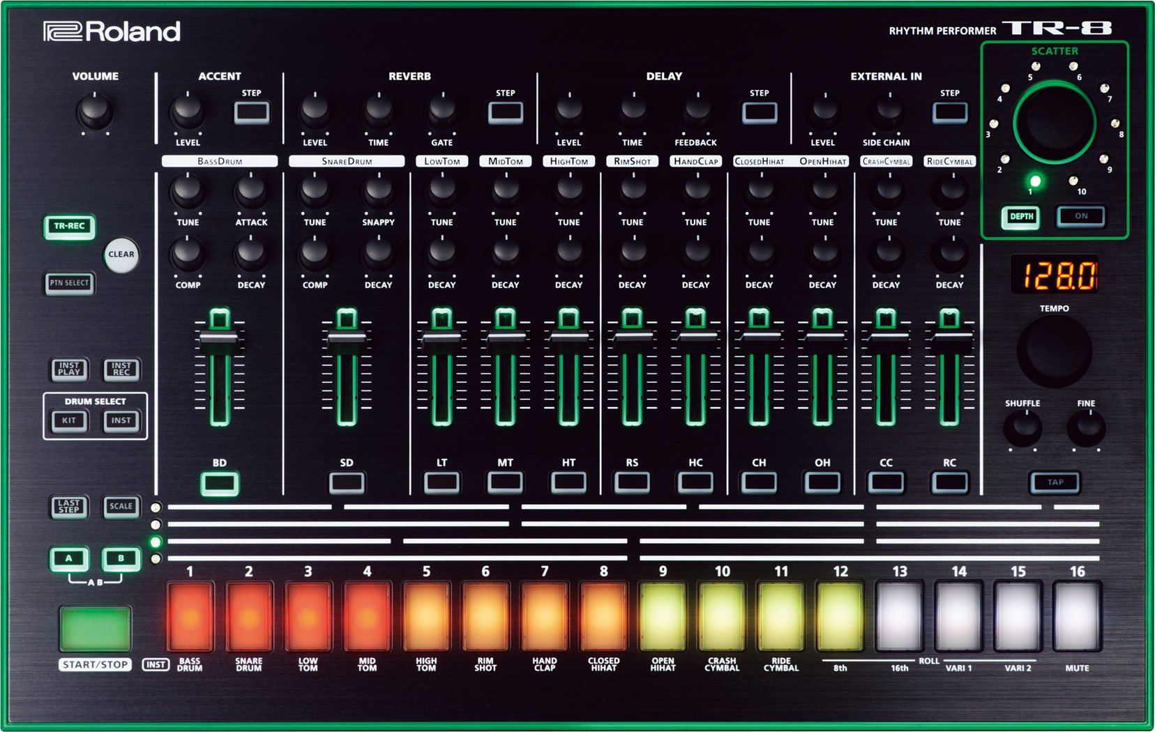 Roland AIRA TR-8 Rhythm Performer w/Bonus Dunlop PVP101 Pick-Pack (x12) 761294504826