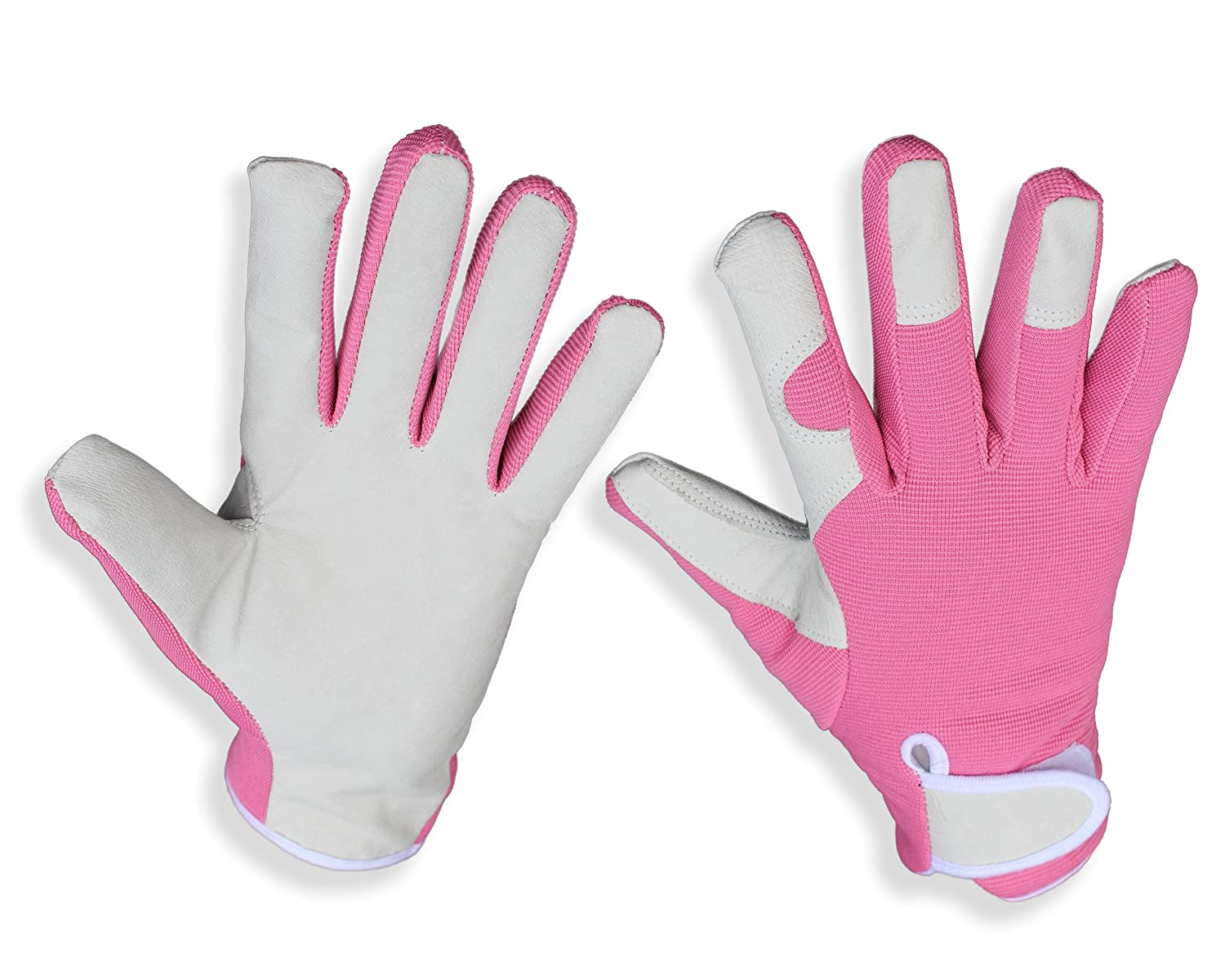 Elegant, Slim Fit Leather Ladies Gardening Gloves (Pink). Perfect for Garden and House - Even Safe for Pruning Roses. Perfect gardening gifts for women (Small) MIC