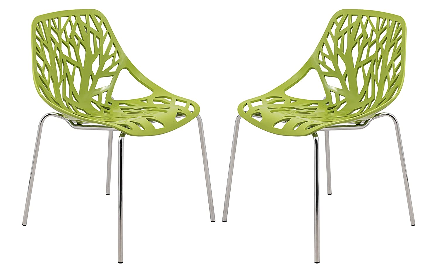 LeisureMod Modern Asbury Dining Side Chair with Chromed Legs in Green Set of 2