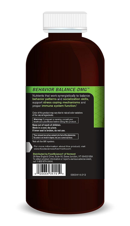 FoodScience of Vermont Behavior Balance-DMG Liquid, Behavior Support  Supplement, 12 FL OZ