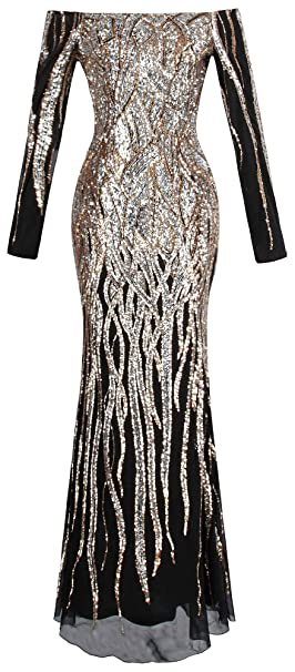 6579c5bb03958 Angel-fashions Women's Boat Neck Long Sleeve Sequins Flapper Ball Gown