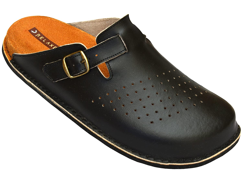Relaxen Herren Arbeitsschuhe - Medizinische Clogs - Orthopädische Schuhe Schwarz&Weiß Modell MA04