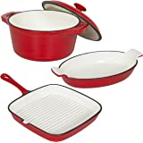 Best Choice Products Cast Iron Dishes Set of 3 Casserole, Gratin and Griddle Set Oven to Table Cookware