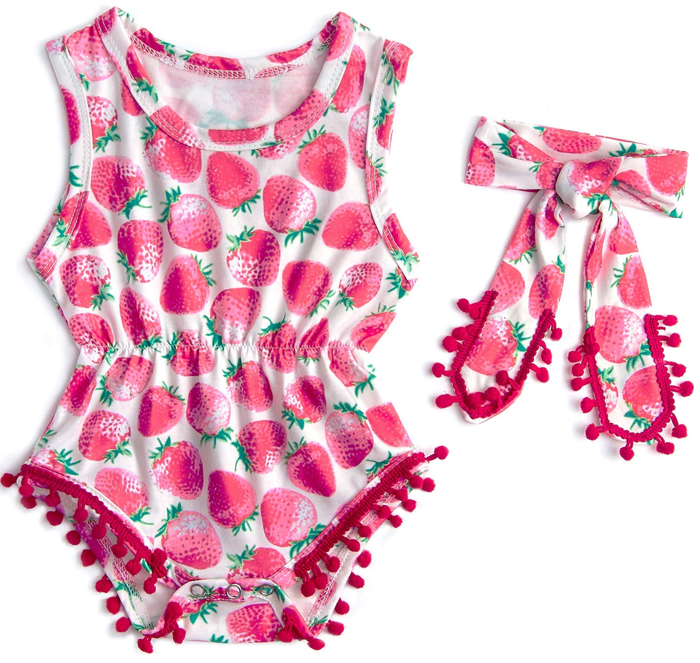 Belovecol Jumpsuit for Baby Girl Newborn Toddler Sleeveless One Piece Playwear Cute Onesie with Tassel 3-6 M