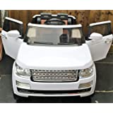 LARGE POWERFUL! RANGE ROVER WHITE! REAL RUBBER WHEELS! With double Motors! WITH REMOTE CONTROL ELECTRIC CAR high speed 5,5 km/h! Ride on toy car from two years!