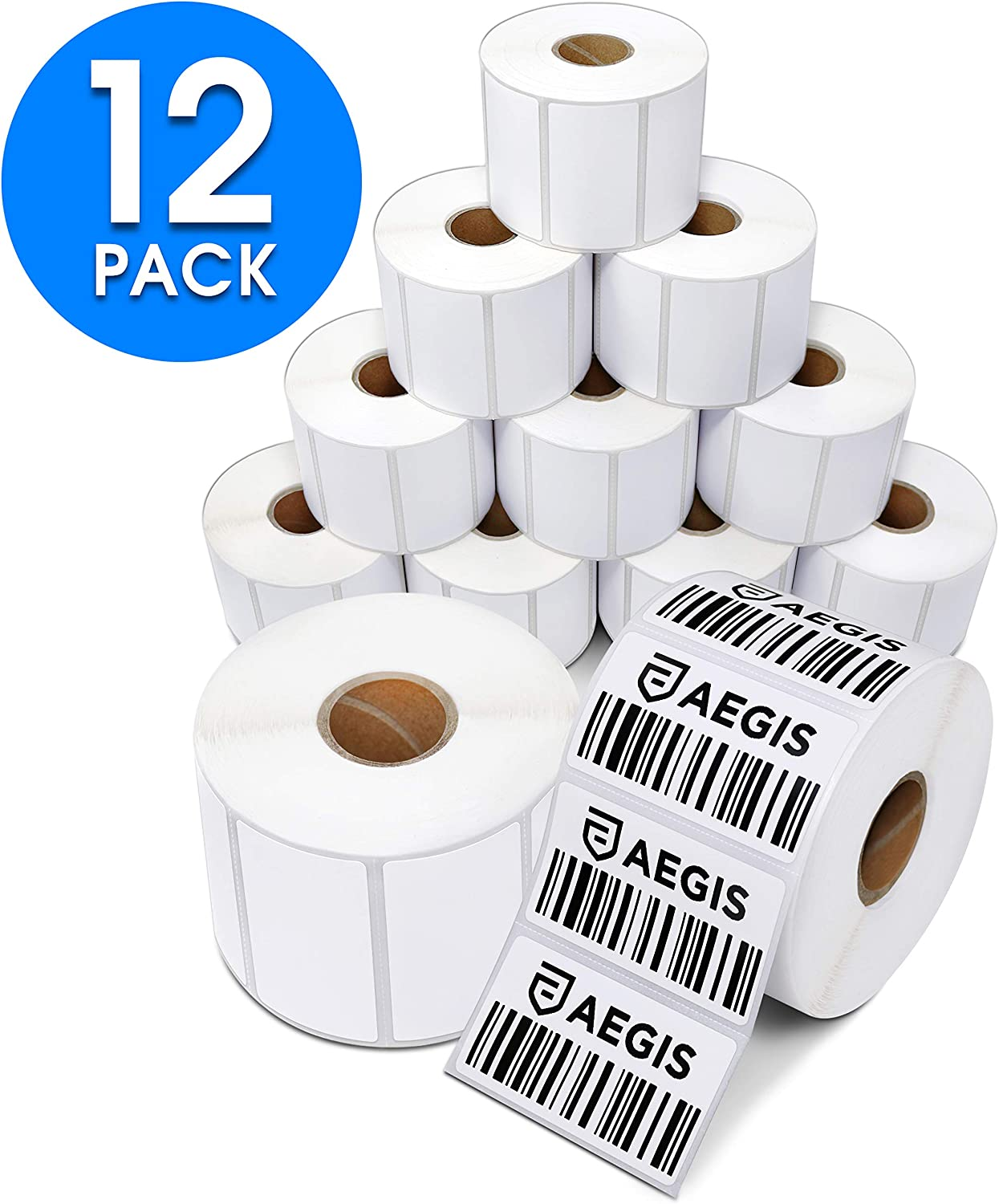 """Aegis Adhesives - 2 ¼"""" X 1 ¼"""" Direct Thermal Labels for UPC Barcodes, Address, Perforated & Compatible with Rollo Label Printer & Zebra Desktop Printers (12 Rolls, 1000/Roll)"""