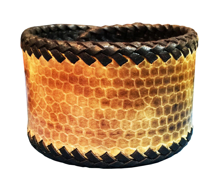 D'SHARK 1.8'' Wide Biker Snake Leather Luxury Bangle Cuff Bracelet Wristband for Unisex (Light Brown)