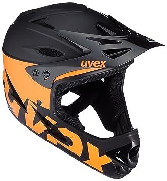 Uvex 9 Bike fullface Casco, Primavera/Verano, Unisex, Color Negro y Naranja