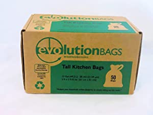 Evolution Trash Bags: Tall Kitchen Trash Bag, 50 Bags/Box, Made with 70% Certified PCR Material