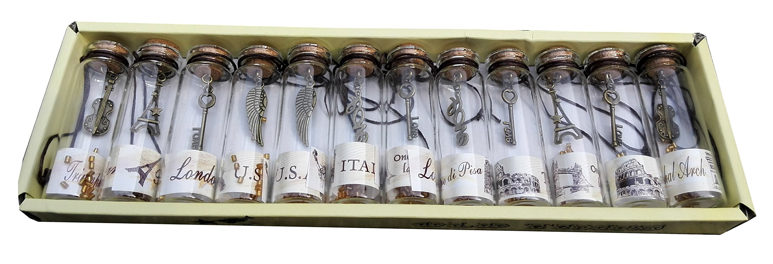 Nesting Nomad Small Transparent Mini Glass Jars with Cork Stopper and with Inside Steam Punk Pendants 4