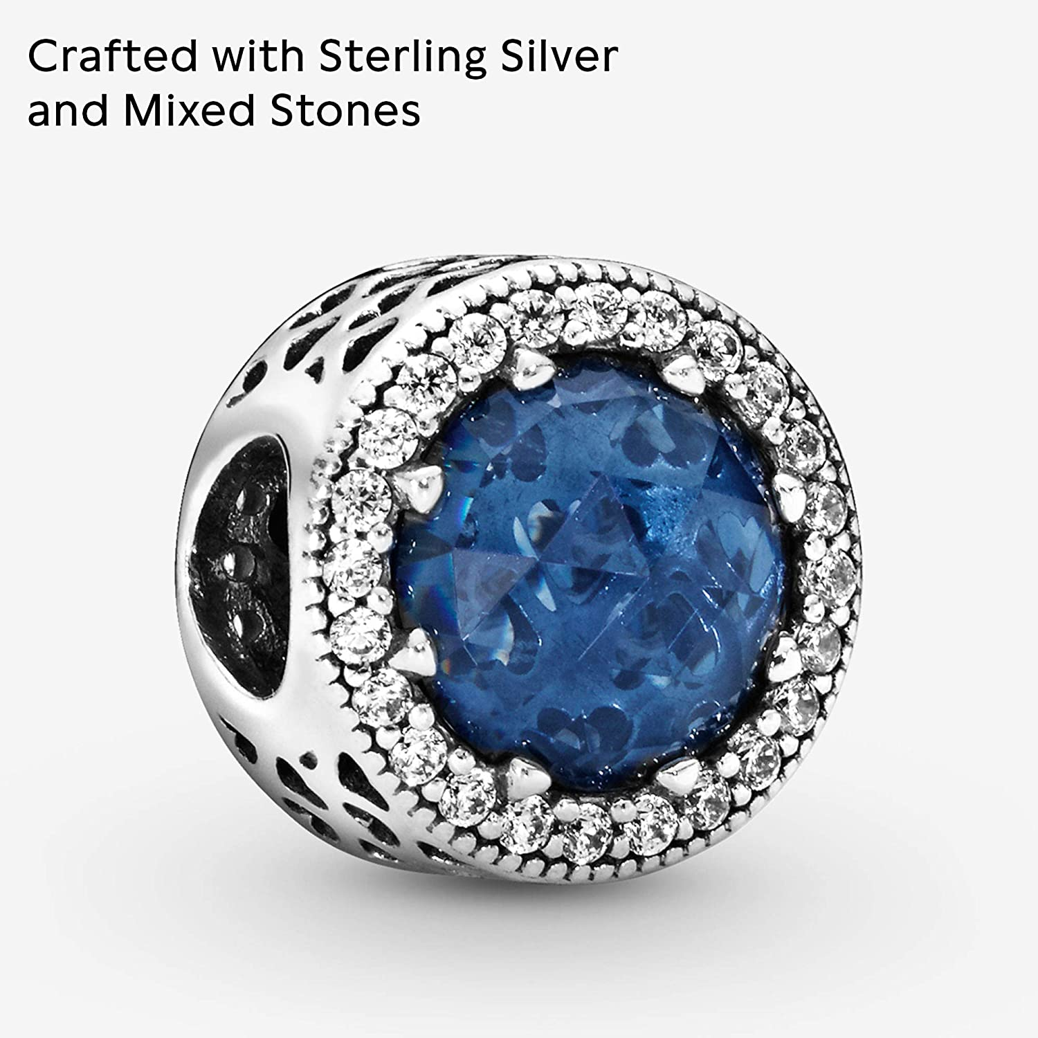 Amazon Com Pandora Jewelry Sparkling Dark Blue Crystal And Cubic Zirconia Charm In Sterling Silver Clothing