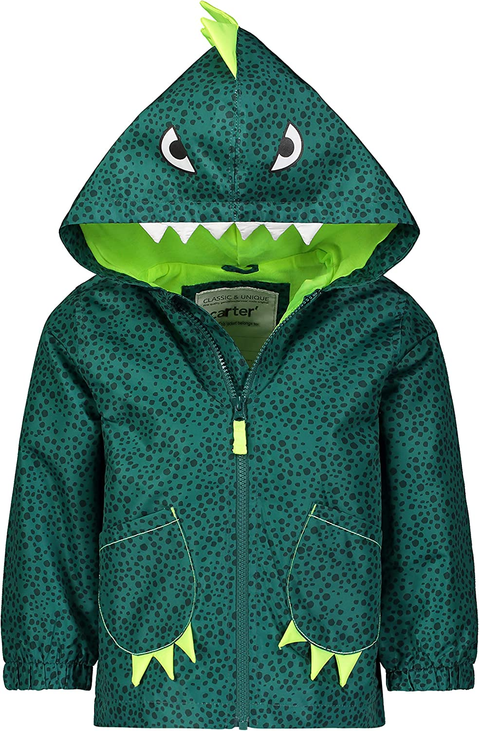Carters Baby Boys Critter Rainslicker Lightweight Rain Jacket 12MO Green Dino