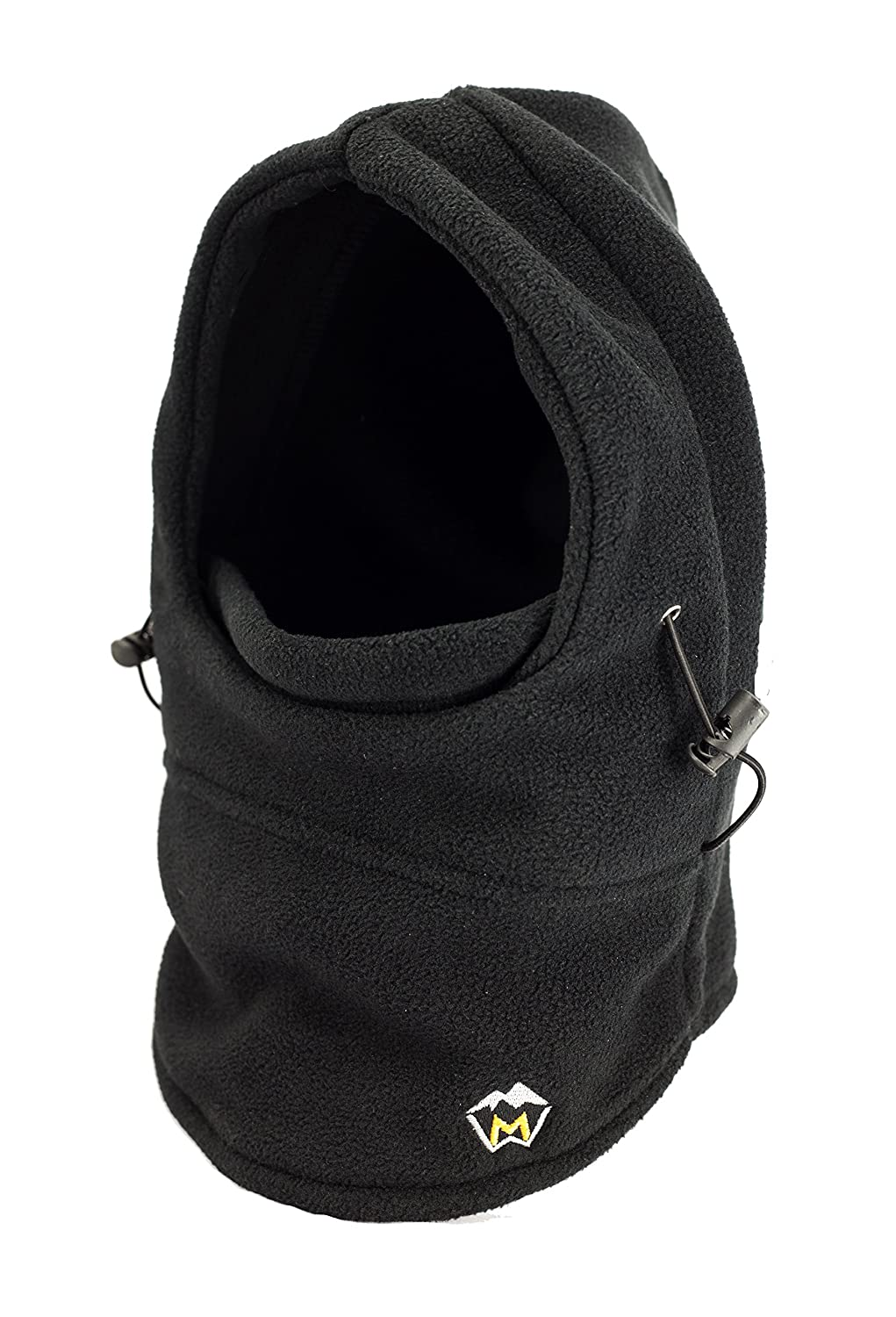 MaxWarmth Weatherbeating Balaclava, unisex and unisize, with extra long collar to ensure warm head AND Neck, all in one Snood, Neckwarmer, and Ski Mask in Black or Charcoal made from super warm fleece Pureur BALAVA 001