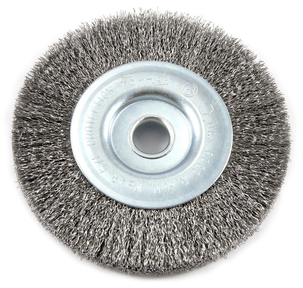 Forney 72744 Wire Wheel Brush 4-Inch-by-.008-Inch Fine Crimped with 1//2-Inch Arbor