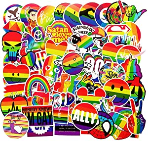 EHOPE Water Bottle Stickers Gay Pride Stickers Bright Technicolor Rainbow Stickers Car Bike Scooter Suitcase Phone Refrigerator Laptop Cup Motorcycle Stickers(100PCS Gay Pride)