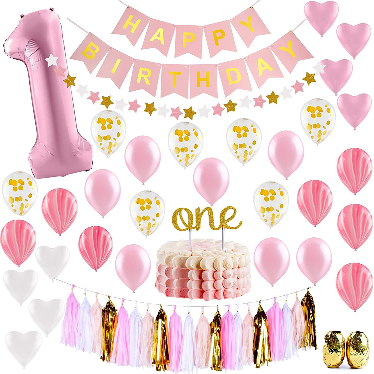 Baby Girl First Birthday Decorations 1st Birthday Girl Decorations Pink And Gold Party Supplies Happy First Birthday Banner Number 1 Heart And