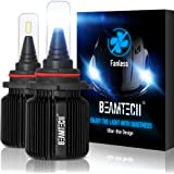 BEAMTECH 9005 LED Headlight Bulbs,Fanless CSP Y19 Chips 8000 Lumens 6500K Xenon White HB3 Extremely Bright Conversion Kit of 2
