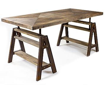 Industrie Design Esstisch Tisch Massiv Holz Eisen Look Loft Möbel ...