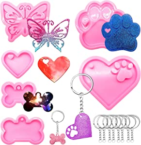 Resin Silicone Keychain Molds 6pcs & 10pcs Key Rings, Butterfly Resin Keychain Molds, Bear Paw Love Mold, Dog Bone Shaped Keychain Silicone Molds for Epoxy Pendant DIY Crafts, Easter Food Grade molds