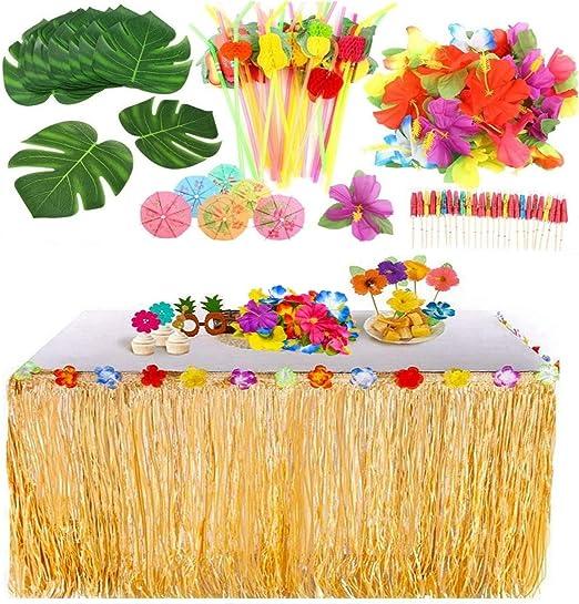 KAHEIGN 109Piezas Juego de Decoración de Fiesta Hawaiana Luau, 9 ...
