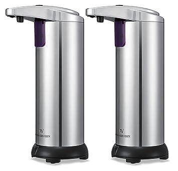 Dispensador de jabón automático con sensor infrarrojo - De acero inoxidable, con base resistente al