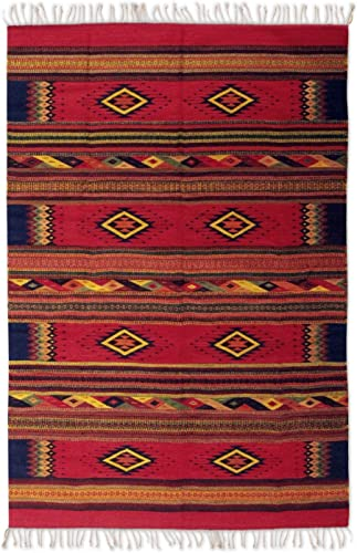 NOVICA Red Zapotec Wool Area Rug 5' X 8'
