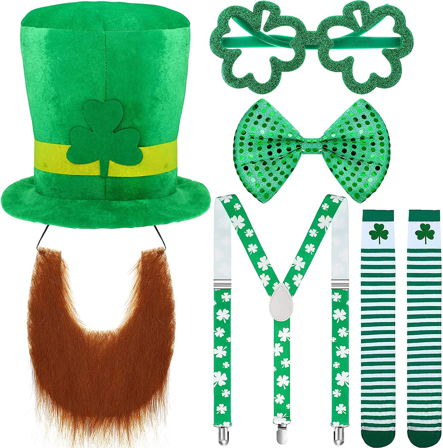 Sequin Bow Tie St.Patricks Days Costume Accessories Set Shamrock Leprechaun Hat Irish Faux Mustache Shamrock Suspenders Shamrock Shaped Glasses and Shamrock Socks for St Patricks Day Party